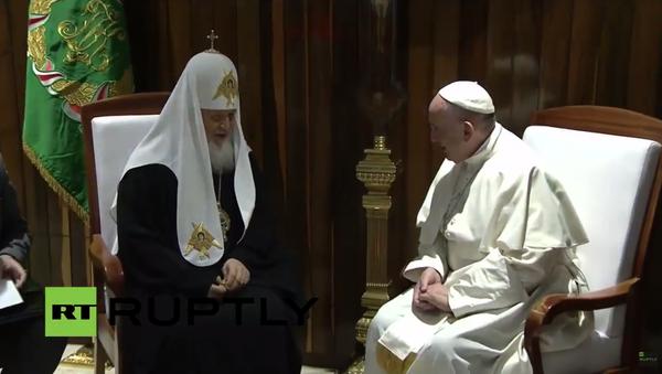 El encuentro entre el papa Francisco y el patriarca Kiril en La Habana - Sputnik Mundo