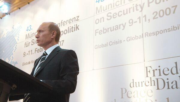 Presidente ruso, Vladímir Putin en la conferencia de seguridad en Múnich en 2007 - Sputnik Mundo