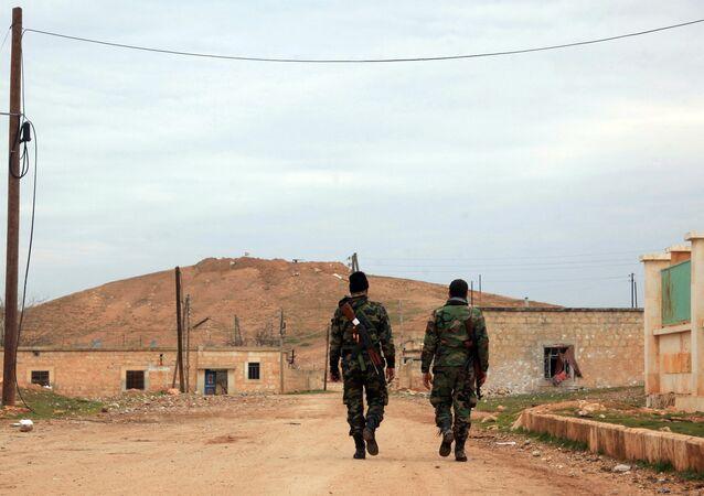 Soldados sirios en la provincia de Alepo