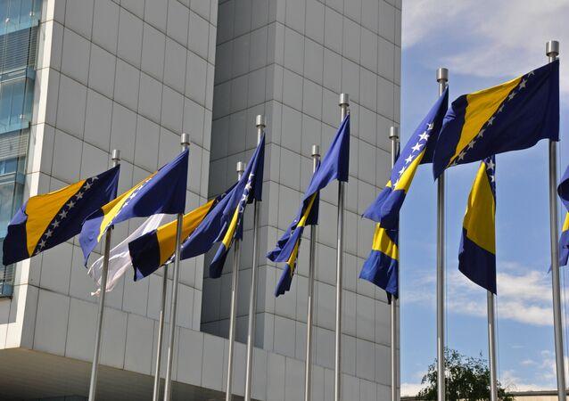 Las bandera de Bosnia y Herzegovina