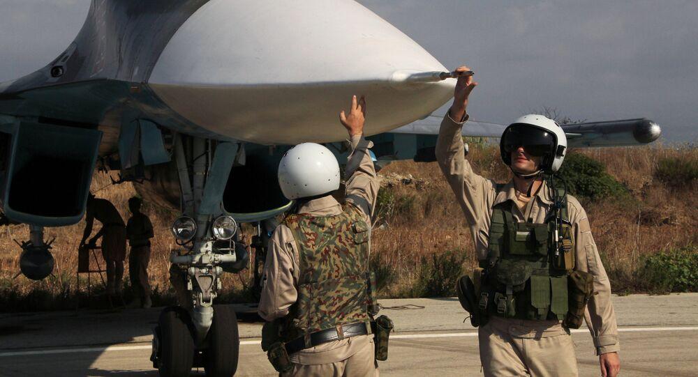 Los aviones rusos en la base aérea de Hmeymim, Siria (archivo)