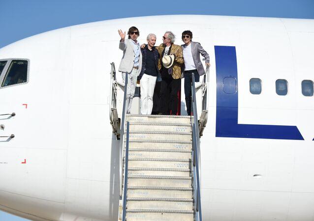 Los Rolling Stones en el aeropuerto de Montevideo