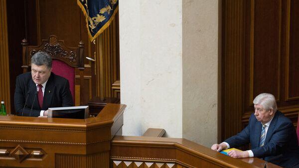 Presidente de Ucrania, Petró Poroshenko y exfiscal general de Ucrania, Viktor Shokin - Sputnik Mundo