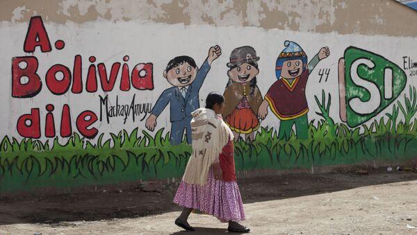 Una mujer aymara pasa junto a un mural en favor del presidente Evo Morales, en El Alto, Bolivia - Sputnik Mundo