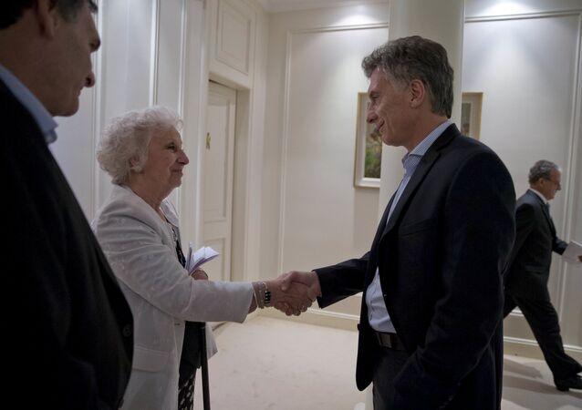 Presidente de Argentina, Mauricio Macri y presidenta de Abuelas de Plaza de Mayo, Estela de Carlotto