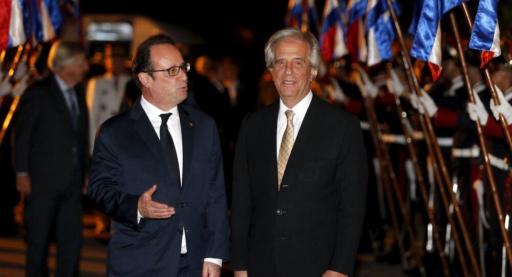 Presidente de Francia, François Hollande, y presidente de Uruguay, Tabaré Vázquez
