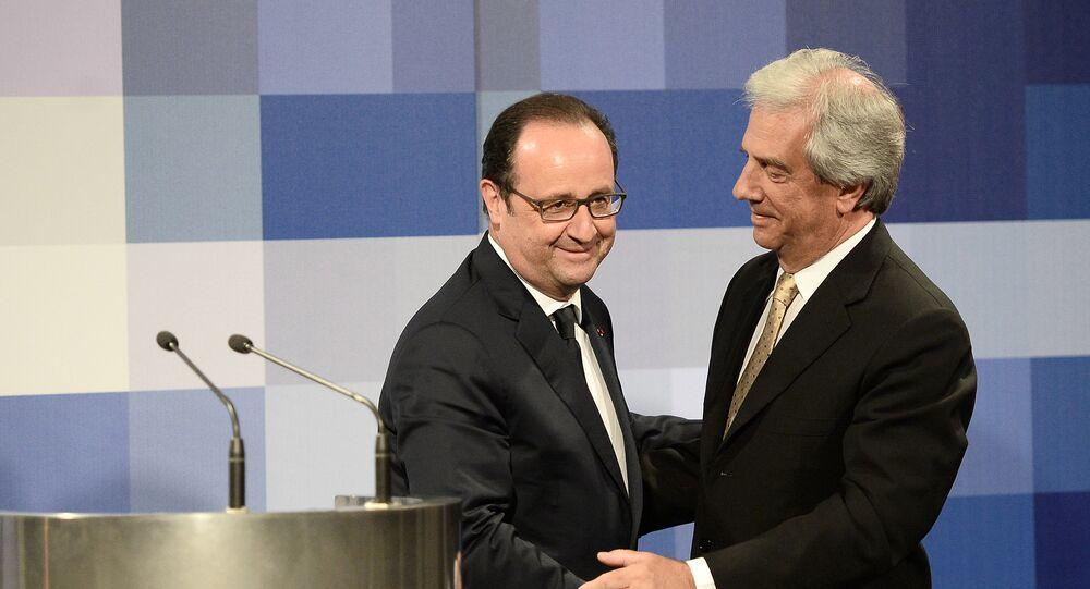 Presidente de Francia, François Hollande y presidente de Uruguay, Tabaré Vázquez