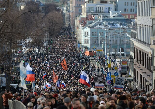 Marcha en la memoria del político opositor ruso Boris Nemtsov