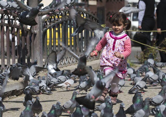 Una niña siria en Damasco