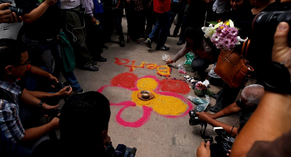 Altar improvisado para Berta Cáceres.
