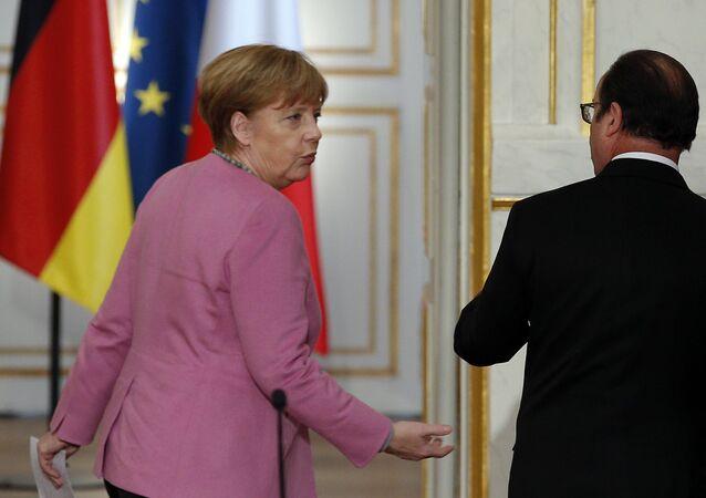 Canciller de Alemania, Angela Merkel y presidente de Francia, François Hollande
