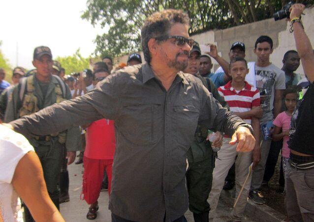 Iván Márquez, uno de los líderes de las FARC, durante la reunión en La Guajira, 18 de febrero de 2016