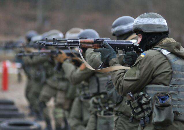 Soldados ucranianos durante las maniobras de la OTAN (archivo)