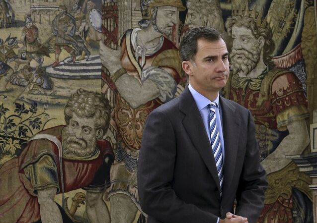 Spanish King Felipe waits for the start of a meeting at Zarzuela palace in Madrid, Spain, January 29, 2016.