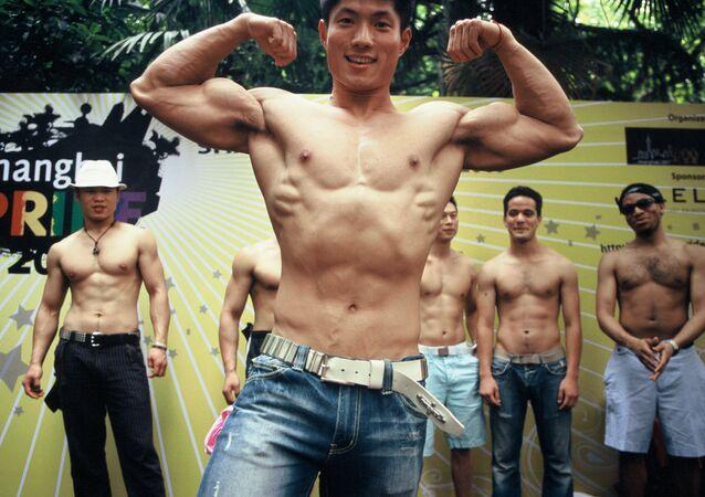 Homosexuales chinos durante el Día del Orgullo Gay