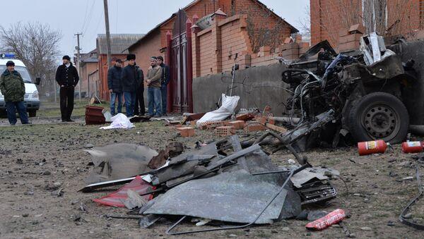 Lugar de la explosión de un coche bomba cerca de una mezquita en Nazrán - Sputnik Mundo