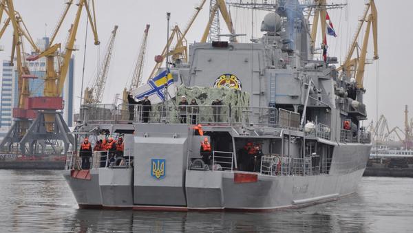 La fragata Hetman Sagaidachni llega al puerto de Odesa - Sputnik Mundo