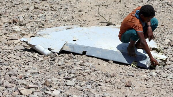 Un niño sentado en un fragmento del avión de Emiratos Arabes estallado en Yemen - Sputnik Mundo