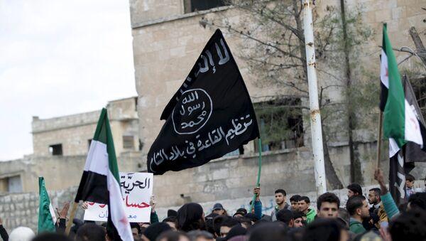 La bandera de Al Qaeda vista durante una manifestación antigubernamental en la provincia de Idlib en Siria - Sputnik Mundo