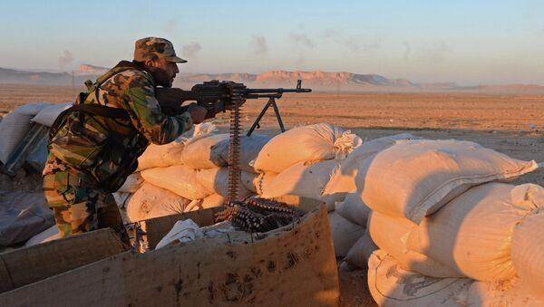 Soldado del ejército sirio en los alrededores de Palmira - Sputnik Mundo