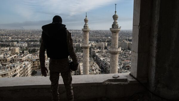 Военнослужащий Сирийской Арабской армии в городе Алеппо - Sputnik Mundo