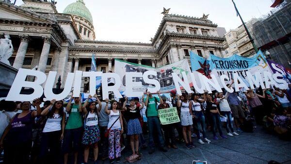 Protesta contra acuerdo con fondos buitre, Argentina - Sputnik Mundo