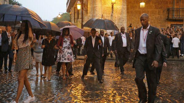 Presidente de EEUU Barack Obama con su esposa Michelle y sus hijas Malia y Sasha en La Habana Vieja - Sputnik Mundo