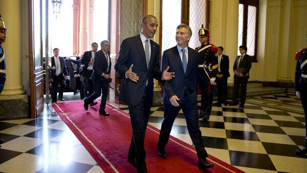 El presidente de EEUU, Barack Obama, y el presidente de Argentina,Mauricio Macri - Sputnik Mundo