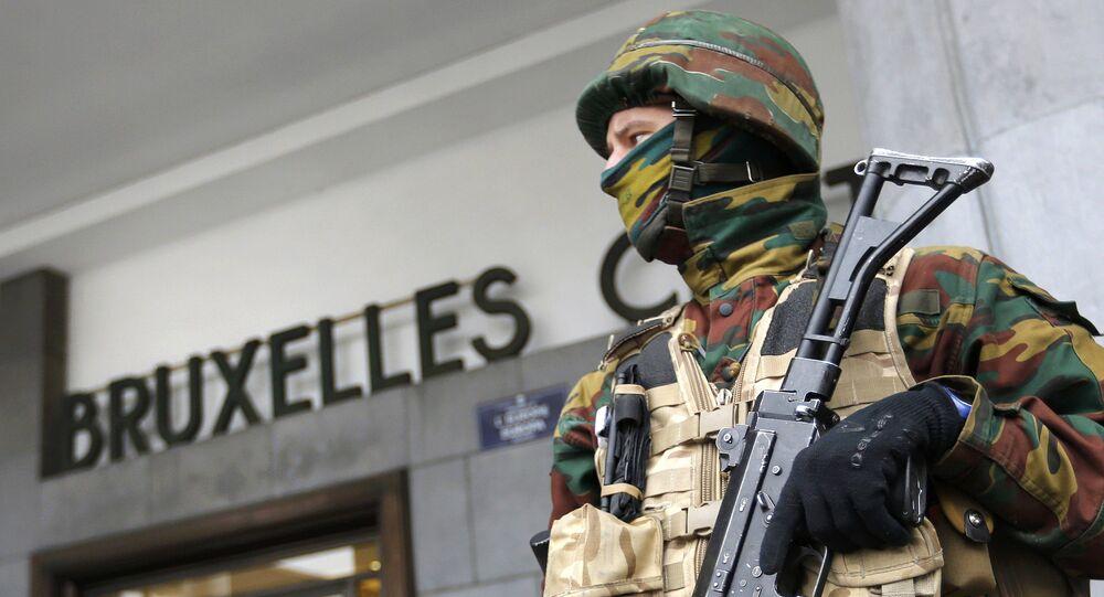 Policía en Bruselas, Bélgica