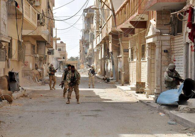 Militares sirios en Palmira