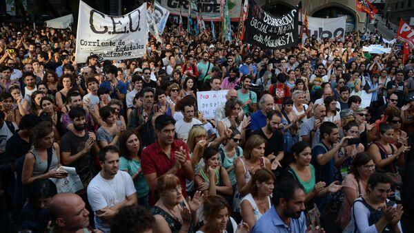 Manifestación de protesta contra los despidos en Argentina (archivo) - Sputnik Mundo