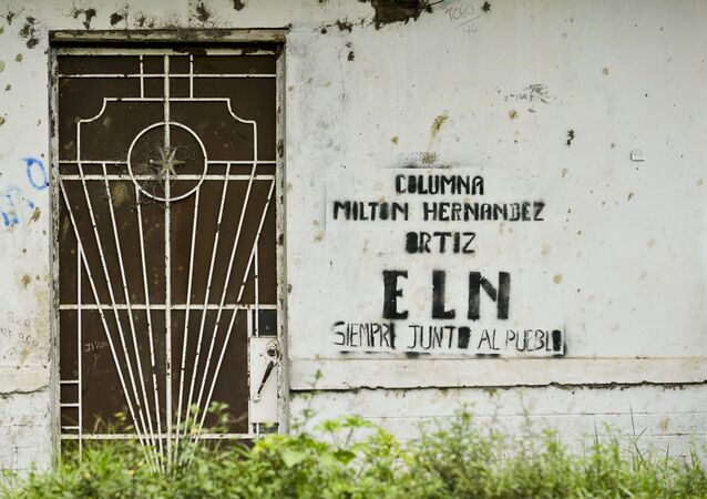 Grafiti del ELN (Ejército de Liberación Nacional) en Colombia