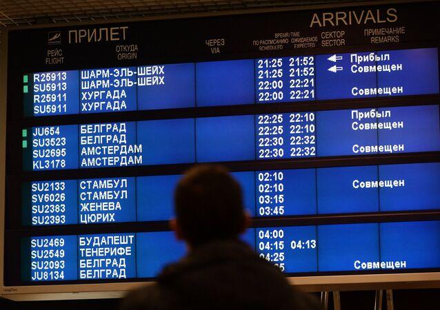Tablero en un aeropuerto ruso