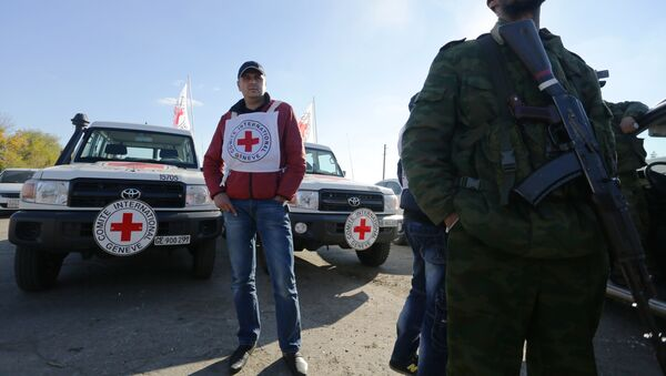 A Red Cross observer watches the exchange of captives in the small Ukrainian town of Schastya, Lugansk region on October 29, 2015. - Sputnik Mundo