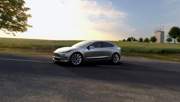 A Tesla Motors mass-market Model 3 electric car is seen in this handout picture from Tesla Motors - Sputnik Mundo