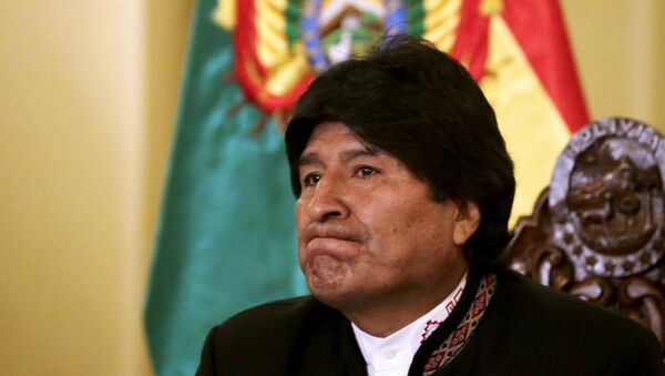 Bolivia's President Evo Morales gestures during a news conference at the presidential palace in La Paz - Sputnik Mundo