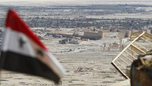 Bandera de Siria en Palmira - Sputnik Mundo