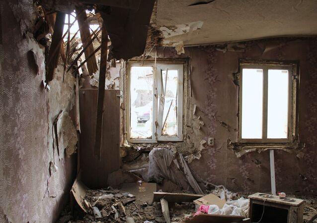 Edificios destruidos en la región de Donetsk