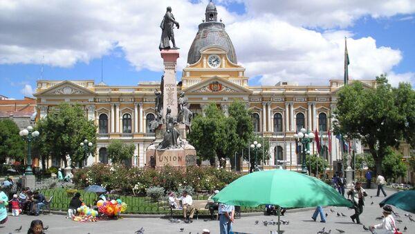 Plaza de Armas de La Paz, Palacio del Gobierno al fondo - Sputnik Mundo