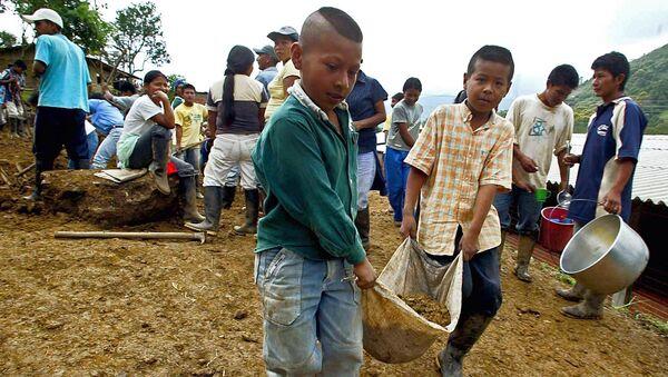 Obras de restauración en la municipalidad colombiana en Tacueyo - Sputnik Mundo