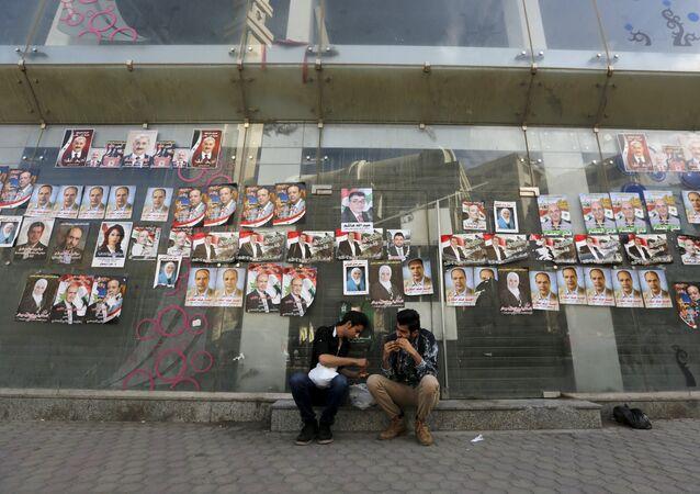 Carteles electorales en Damasco, la capital de Siria