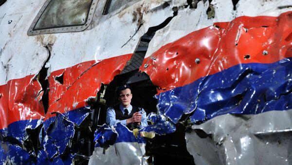 Реконструкция крушения лайнера Boeing 777 Malaysia Airlines (рейс MH17) на Востоке Украины 17 июля 2014 года на военной базе Гилзе-Рейен в Нидерландах - Sputnik Mundo