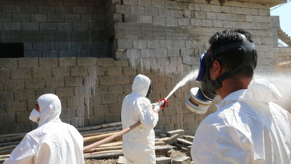 Especialistas intentando eliminar restos de armas químicas. - Sputnik Mundo