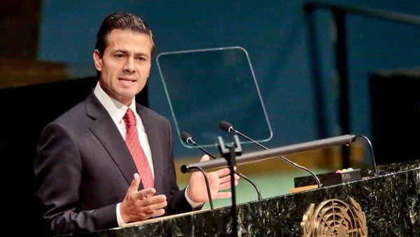 Enrique Peña Nieto, el presidente de México, durante la Asamblea General para debatir las políticas de drogas y narcotráfico mundiales - Sputnik Mundo