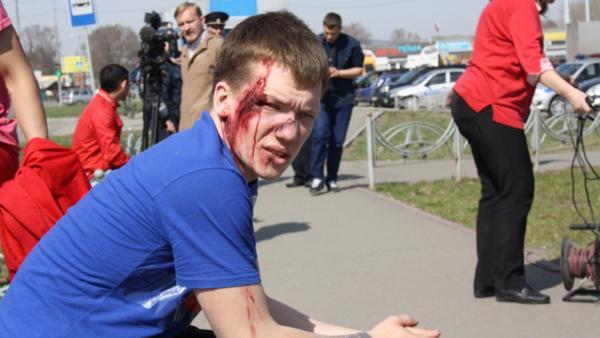 Peatón atropellado, en el flashmob de Abakán, Jakasia - Sputnik Mundo
