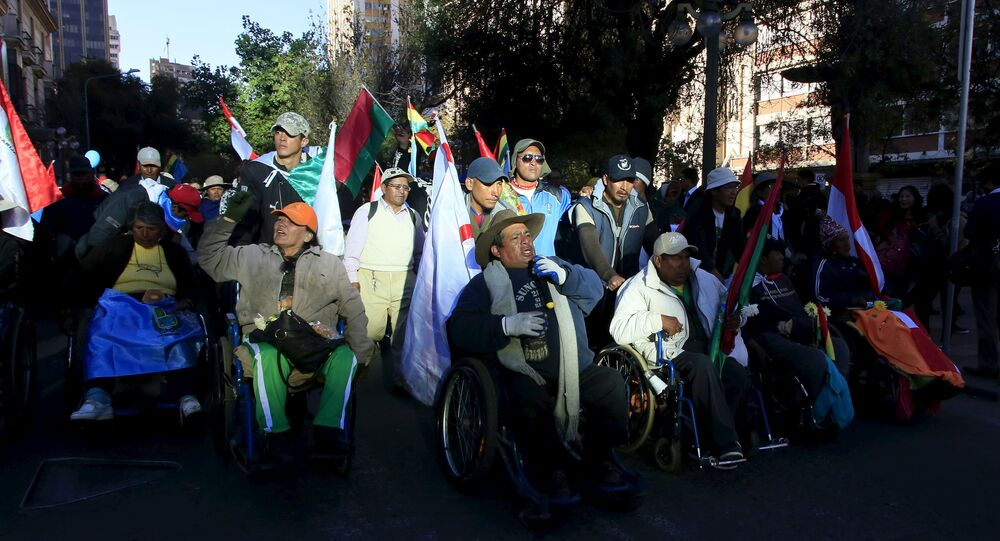 Marcha de personas con discapacidades en Bolivia