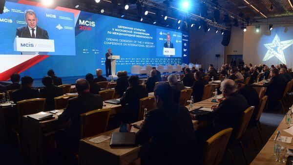 Ministro de Defensa ruso Serguéi Shoigú en la V Conferencia de Seguridad en Mosú - Sputnik Mundo