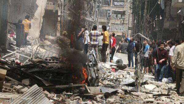 Consecuencias de los ataques aéreos en Alepo - Sputnik Mundo