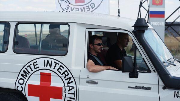Конвой с гуманитарной помощью для жителей юго-востока Украины на КПП Донецк - Sputnik Mundo