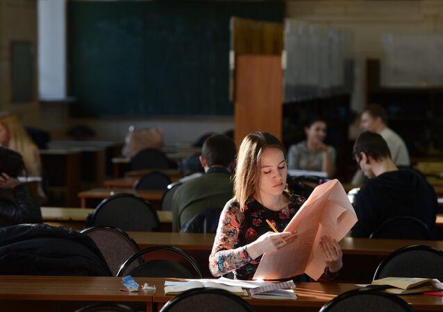 Estudiantes en la Universidad Técnica Estatal Bauman de Moscú